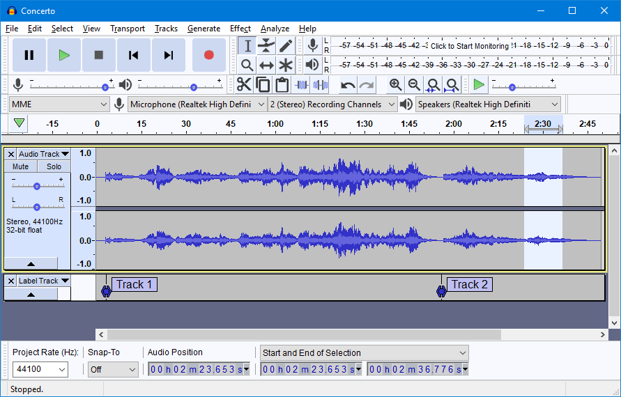Screenshot von Tonspuren bei Audacity